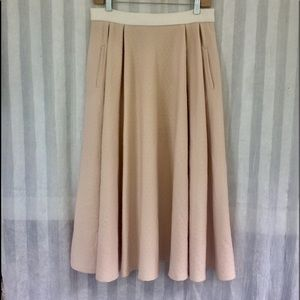 NWOT TORN by Ronny Kobo Nude Pleated Skirt  L